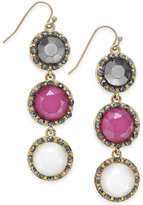 INC International Concepts Gold-Tone Triple Stone Drop Earrings, Created for Macy's