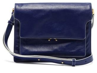 Marni Trunk Large Leather Shoulder Bag - Navy