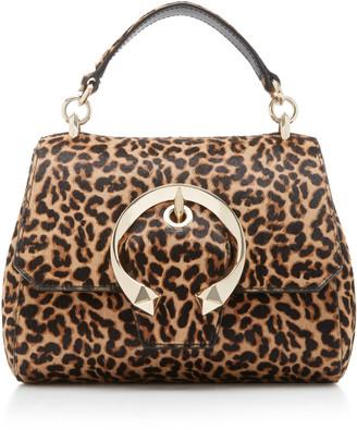 Jimmy Choo Madeline Leopard-Print Calf Hair Top Handle Bag