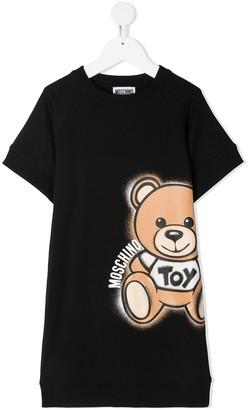 MOSCHINO BAMBINO TEEN logo print round neck T-shirt dress
