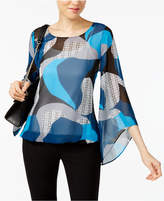 Alfani Petite Printed Angel-Sleeve Blouson Blouse, Only at Macy's
