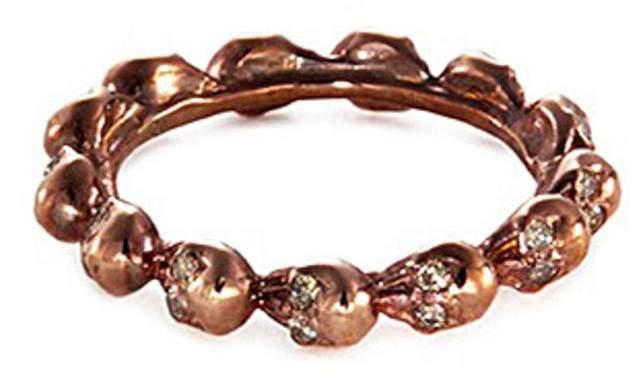 Delfina Delettrez Diamond 18k rose gold skull ring
