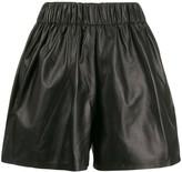 Manokhi elasticated leather shorts