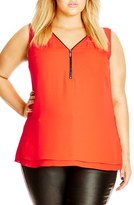 City Chic Plus Size Women's Zip Trim V-Neck Top