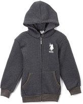 U.S. Polo Assn. Dark Heather Gray Zip-Up Hoodie - Toddler & Boys