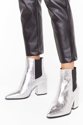 Nasty Gal Womens Croc Party Faux Leather Wide Fit Boots - Silver