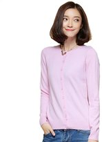 Panreddy Women's 100% Cashmere Slim Fit O Neck Cardigan M