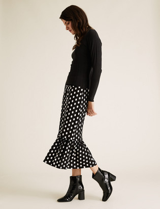 Marks and Spencer Jersey Polka Dot Midi Tiered Skirt