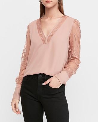 Express Lace Sleeve V-Neck Top