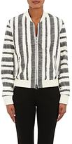 3.1 Phillip Lim WOMEN'S LEATHER ZIGZAG STRIPED BOMBER JACKET