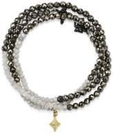 Armenta 18K Yellow Gold & Blackened Sterling Silver Old World Pyrite, Moonstone & Pave Diamond Beaded Wrap Bracelet