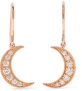 Andrea Fohrman Mini Crescent 18-karat Rose Gold Diamond Earrings - one size