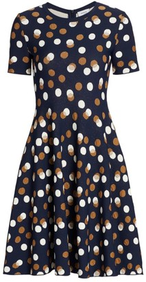 Akris Punto Gold Leaf Polka-Dot Mini Knit Dress