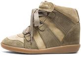 Isabel Marant Bluebel Calfskin Velvet Leather Sneakers in Taupe