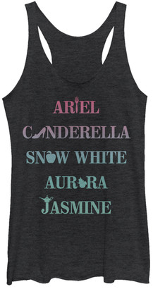 Fifth Sun Women's Tank Tops BLK - Disney Princess Black Heather Icons Racerback Tank - Women & Juniors