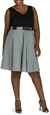 City Chic Plus Combo Belted Play Dress