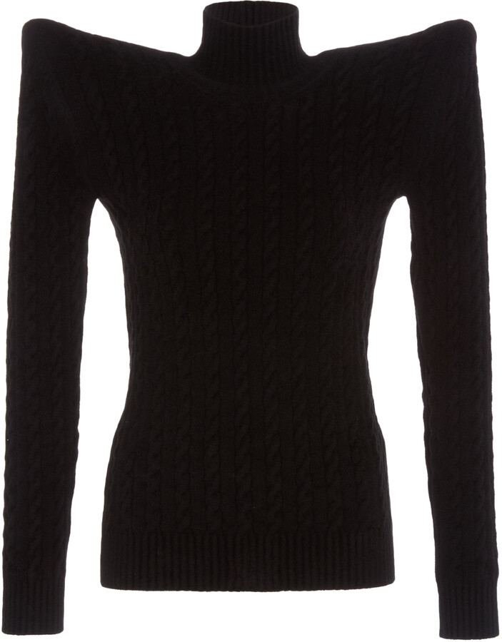 Balenciaga Women's Bold-Shoulder Cable-Knit Velvet Turtleneck Sweater - Black - Moda Operandi