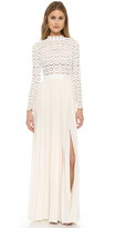 Self-Portrait Self Portrait Pleated Crochet Maxi Dress
