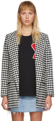 Ami Alexandre Mattiussi Black and White Check Buttonless Long Blazer