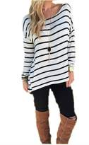 Timemory Womens Casual Long Sleeve Striped T-shirt Blouse Fashion Tops White M