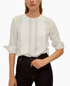 MANGO Pleated Embroidery Blouse