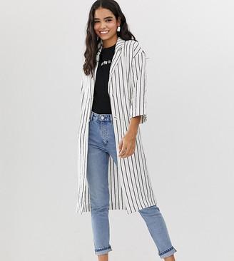 Monki stripe lightweight coat in off white