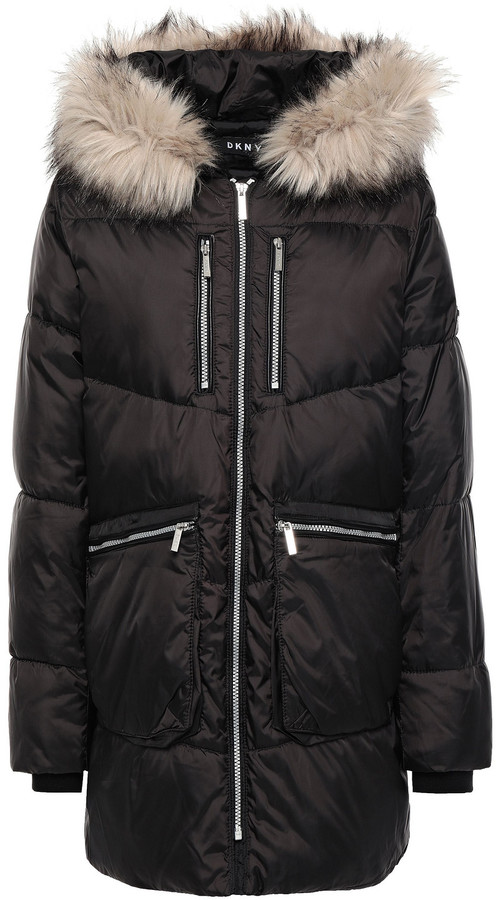 DKNY Faux Fur-trimmed Quilted Shell Hooded Down Coat