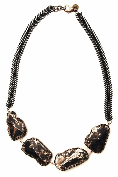 Luv Aj Rock & Spike Choker in Antiqued Gold with Black Chain