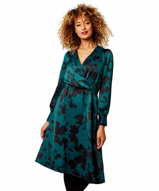 Joe Browns Womens Floaty Satin Dress with Floral Print Blue 12