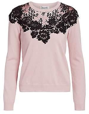 Valentino Women's Chantilly Lace Inset Wool & Silk Knit Sweater
