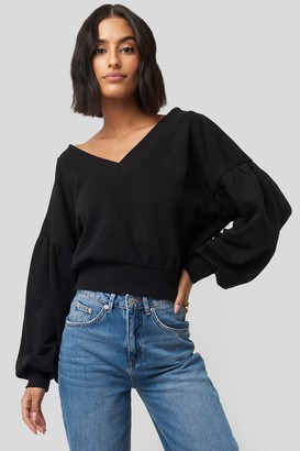 NA-KD Puff Sleeve V-neck Sweatshirt Black