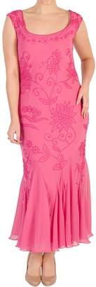 Chesca Embroidered Beaded Dress, Rose Pink
