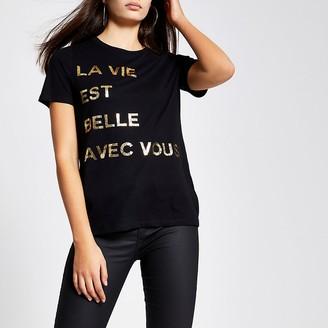 River Island Black foil printed short sleeve T-shirt