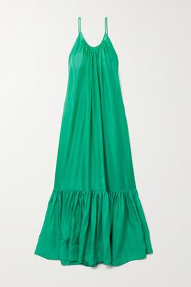 Kalita Brigitte Tiered Silk-habotai Maxi Dress - Jade