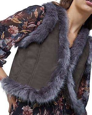 French Connection Afia Faux Fur Trimmed Vest