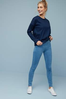 Next Womens Mid Blue Sculpt Pull-On Denim Leggings - Blue