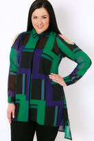 Yours Clothing Black, Blue & Green Abstract Print Shirt With Cold Shoulder & Dipped Hem