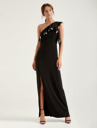 Halston Flounce Crepe Gown