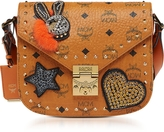 MCM Cognac Patricia Embellished Visetos Small Shoulder Bag