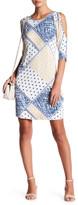 Loveappella 3/4 Sleeve Cold Shoulder Print Dress