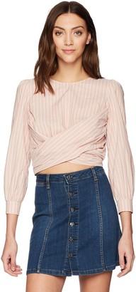 ASTR the Label Women's Sinead Wrap Front Long Sleeve Cut Out Cotton Top