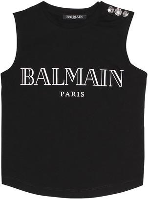 Balmain Kids Logo cotton top
