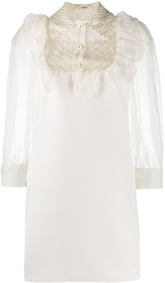 Miu Miu Embellished-Collar Silk Dress