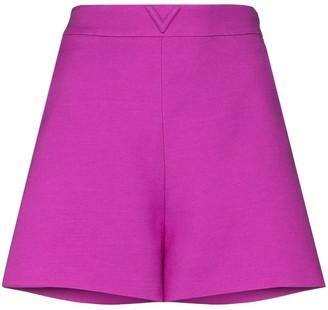 Valentino Logo-Plaque High-Waist Shorts