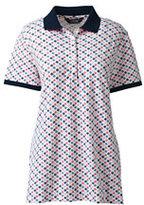 Lands' End Women's Short Sleeve Mesh Polo-Print-Smokey Olive