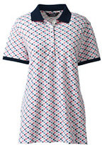 Lands' End Women's Tall Short Sleeve Mesh Polo-Print-White/Blue Waves Shells