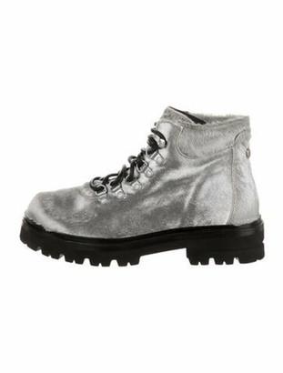 Montelliana Ponyhair Combat Boots Metallic