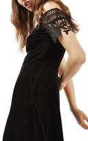 Topshop Women's Lace & Velvet Skater Dress