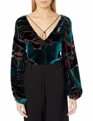 Nicole Miller Women's Penelope Colorblock Velvet Top