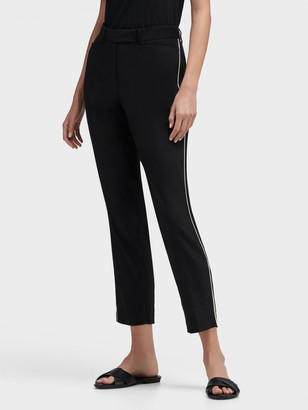 DKNY Women's Cropped Pant With Piping - Black Combo - Size 00